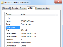 MSG email in Windows Explorer 2