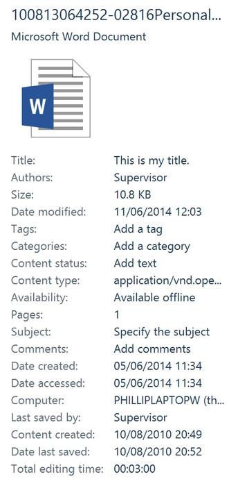 MS Office Metadata Extractor & Document Properties Finder